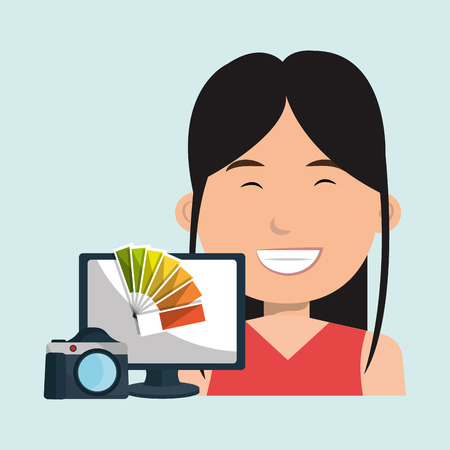 woman laptop: woman laptop camera paint color Illustration