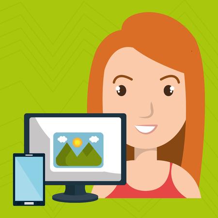 woman laptop camera paint color vector illustration Illustration