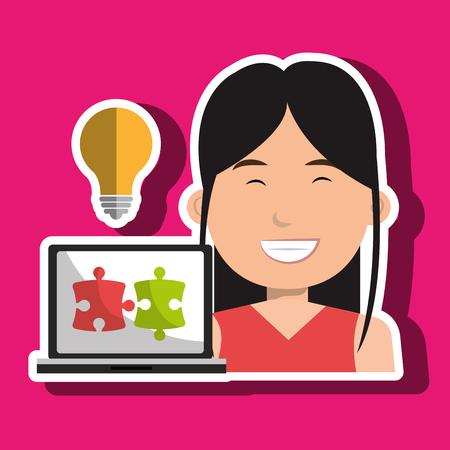 woman laptop: woman laptop creative innovation vector illustration eps 10