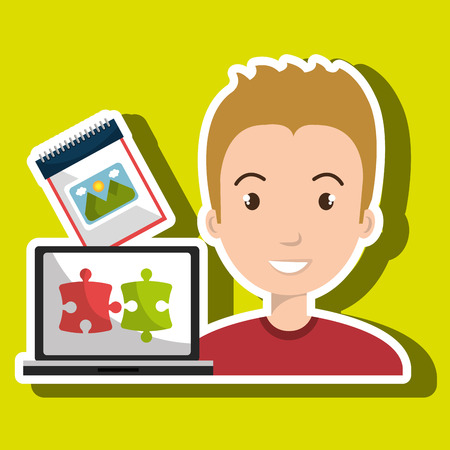 convenient: man laptop creative innovation vector illustration eps 10