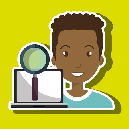 convenient: man laptop search innovation vector illustration