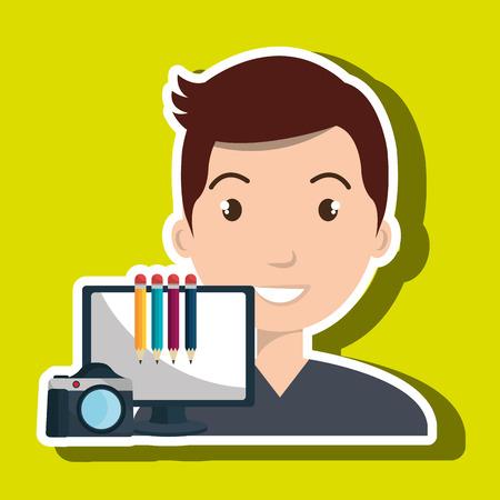 man laptop camera paint color vector illustration
