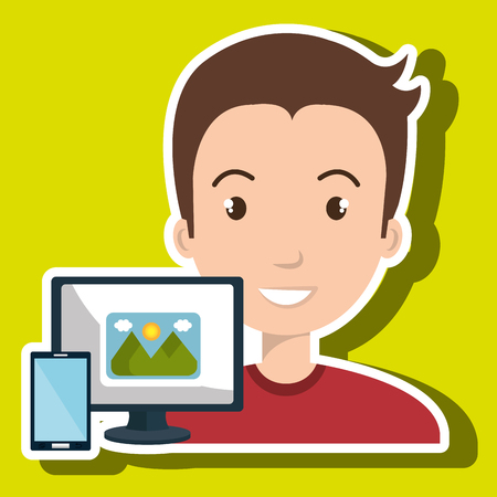 man with laptop: man laptop camera paint color vector illustration