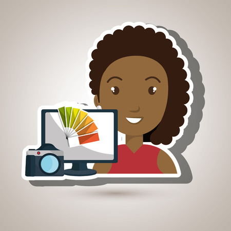 woman laptop: woman laptop camera paint color vector illustration Illustration
