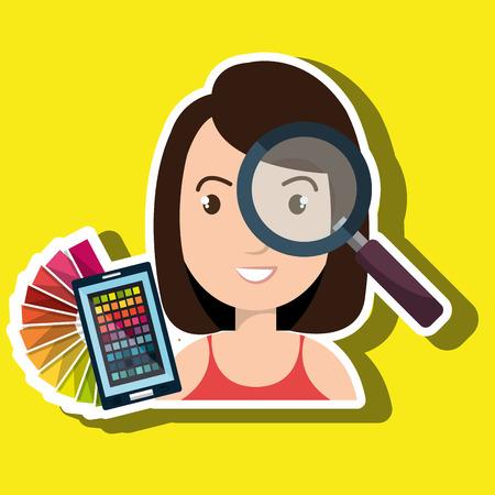 woman smartphone: woman smartphone color chart idea vector illustration