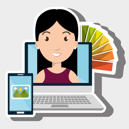 woman laptop: laptop woman chart color images vector illustration Illustration