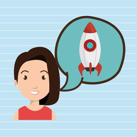tied girl: woman thinking creating bubble vector illustration Illustration