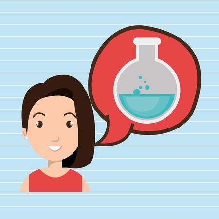 woman thinking creating bubble vector illustration Illustration