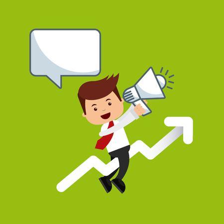 bussines: businessman avatar with bussines flat icons vector illustration design Illustration