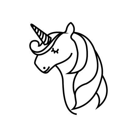 drawing cute unicorn icon vector illustration design