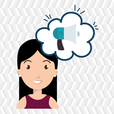 creating: woman thinking creating bubble vector illustration Illustration