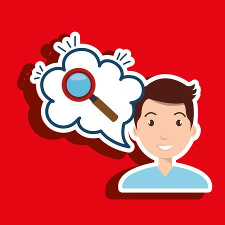 creating: man thinking creating bubble vector illustration