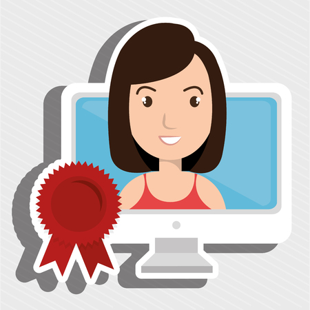 woman and monitor Illustration