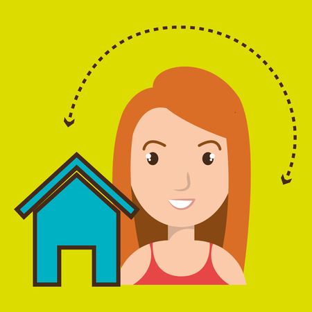 feedback link: woman home page web vector illustration eps 10 Illustration