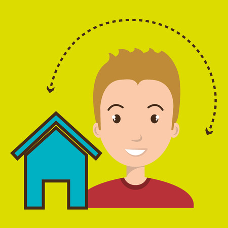 home page: man home page web vector illustration eps 10