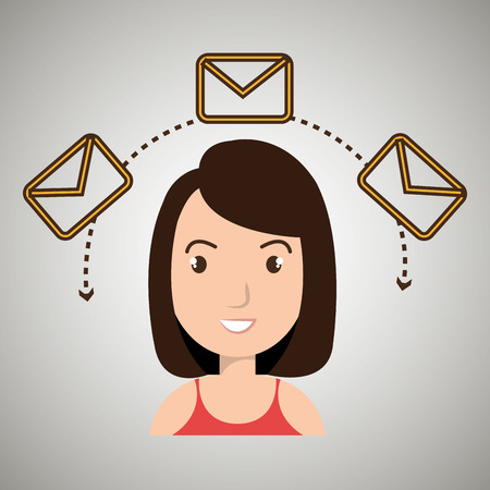 woman message email card vector illustration eps 10
