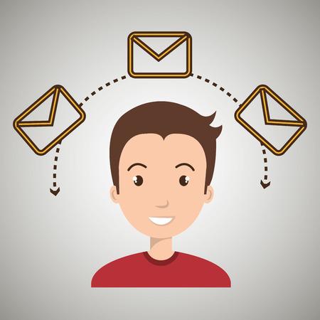 man message email card vector illustration eps 10 Illustration
