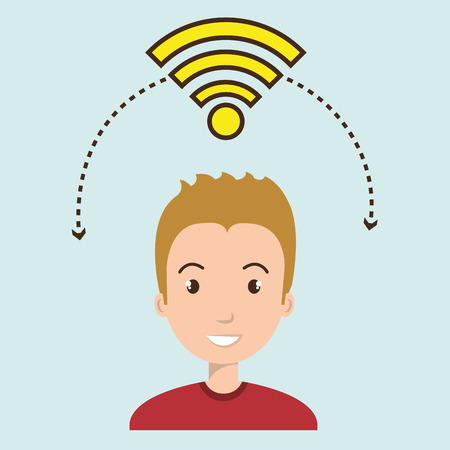 using laptop: man wifi web internet connected vector illustration eps 10 Stock Photo