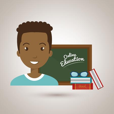 classmate: man student online education vector illustration eps 10