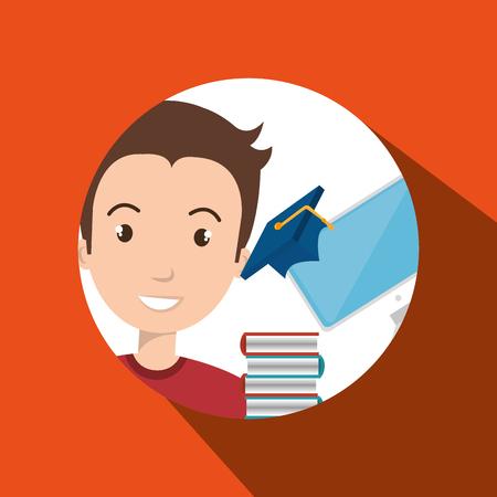 man student pc books vector illustration eps 10