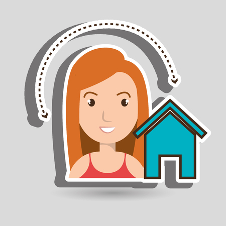 home page: woman home page web vector illustration eps 10 Illustration
