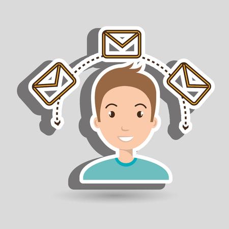 man message email card vector illustration eps 10 Ilustração