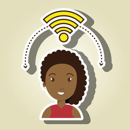 girl using laptop: woman wifi web internet connected vector illustration eps 10