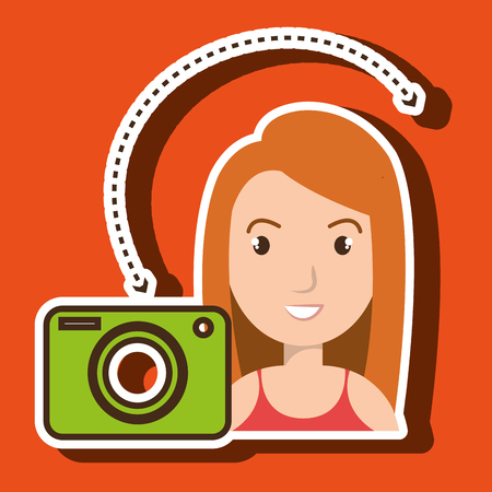woman camera photo images gallery vector illustration Illustration