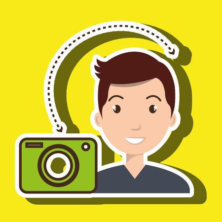 arte optico: hombre de la cámara fotografía imágenes ilustración vectorial eps 10