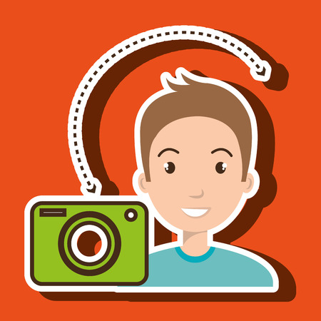 photography equipment: man camera photography images vector illustration eps 10