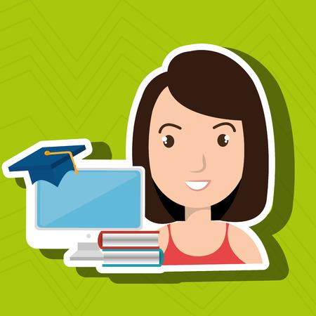 woman student pc books vector illustration eps 10