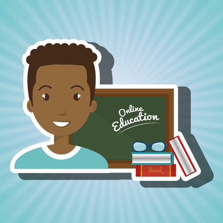 schoolmate: man student online education vector illustration eps 10