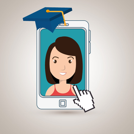woman student smartphone apps vector illustration eps 10