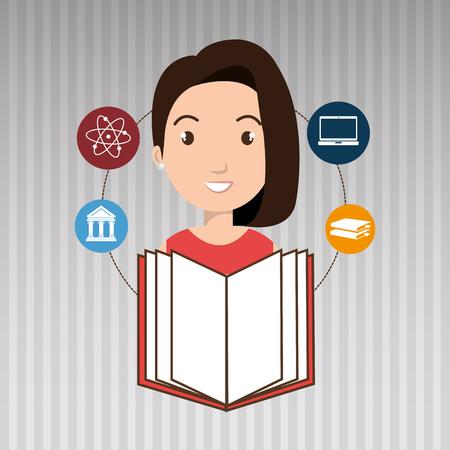 tied girl: student books college laptop vector illustration eps 10