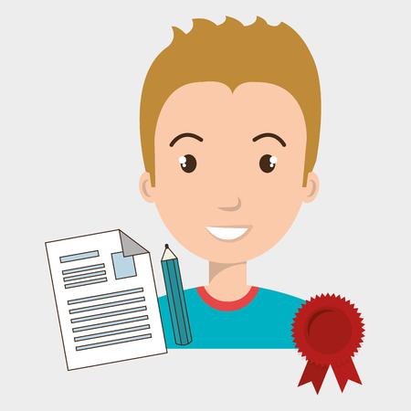 man student medal ribbon vector illustration eps 10 Illustration