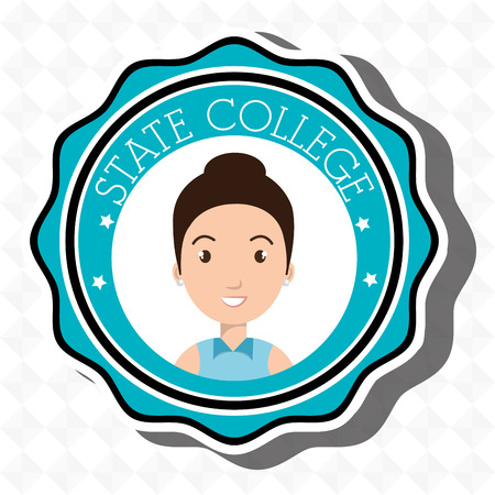 state college student emblem woman vector illustration eps 10
