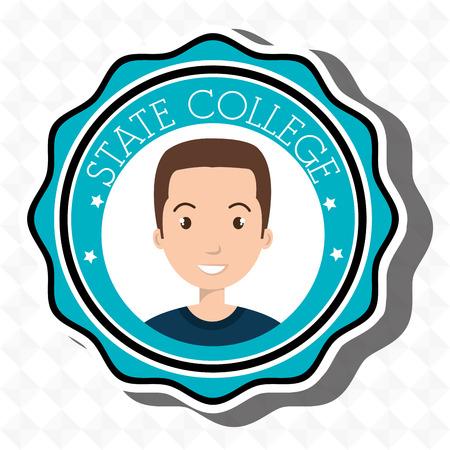 state college student emblem man vector illustration eps 10