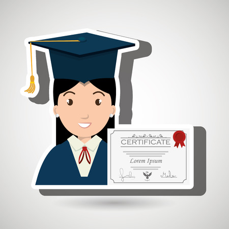 tossing: student woman graduation education vector illustration eps 10 Illustration