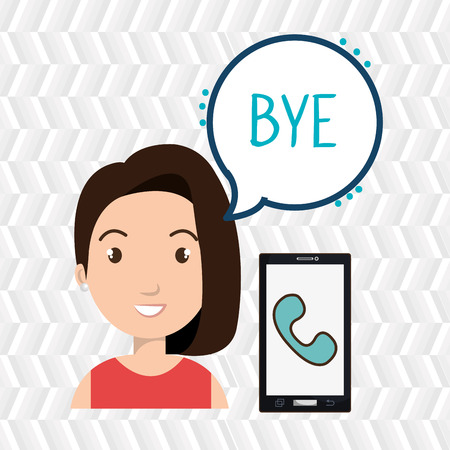 woman smartphone: woman smartphone bubble telephone vector illustration eps 10 Illustration