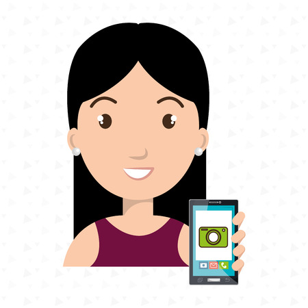 woman cellphone: woman cellphone camera images vector illustration eps 10 Illustration