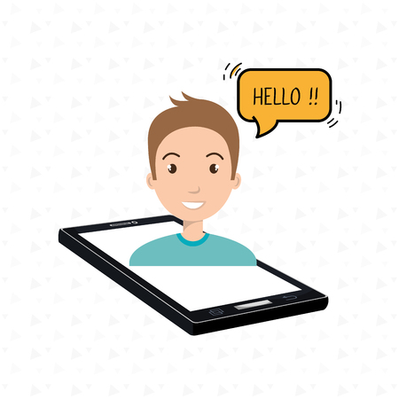 cellphone man speech speak vector illustration eps 10 Illustration
