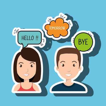 persons talk speech chat bubble vector illustration