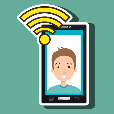 smartphone wifi man online vector illustration eps 10 Illustration