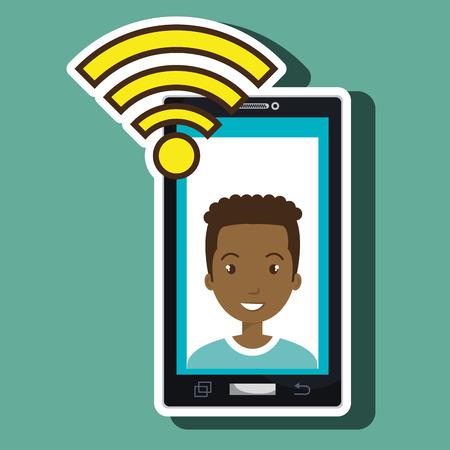 smartphone wifi man online vector illustration eps 10 Illustration