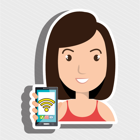 woman cellphone: woman cellphone wifi connected vector illustration eps 10