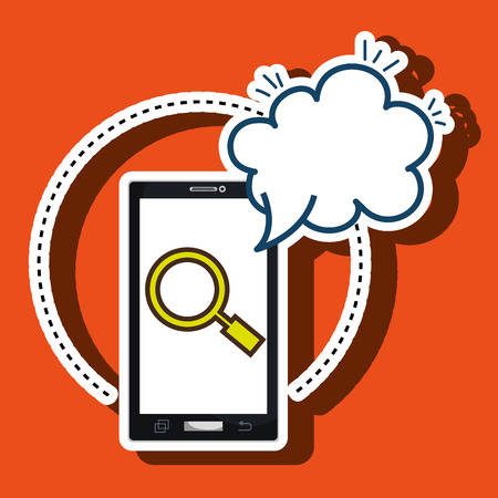 cloud search: smartphone cloud search speack vector illustration eps 10