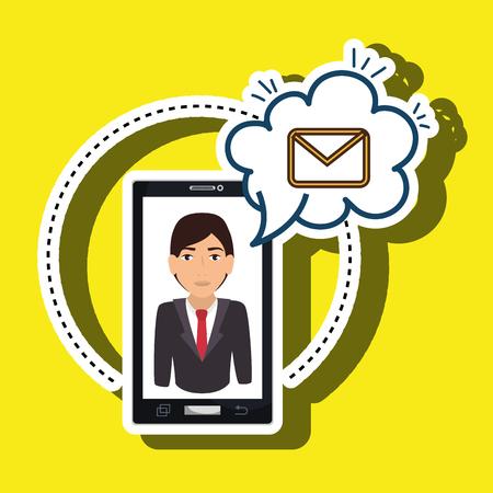 cartoon man smartphone cloud email vector illustration eps 10