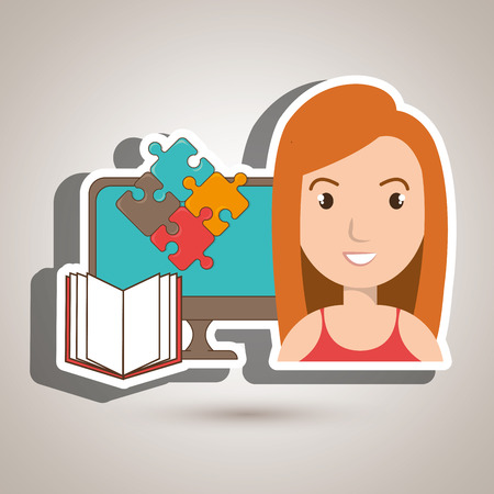 woman pc book puzzle vector illustration eps 10