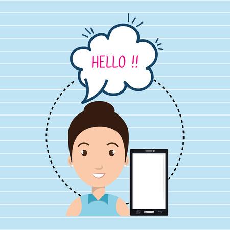 woman smartphone: woman smartphone bubble speech vector illustration eps 10