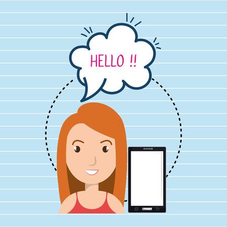 woman smartphone bubble speech vector illustration eps 10